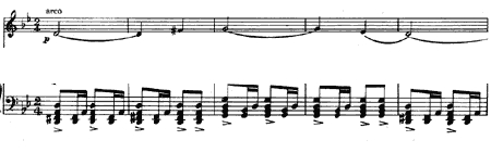 Tango music: top line is violin solo, bottom line is piano left hand